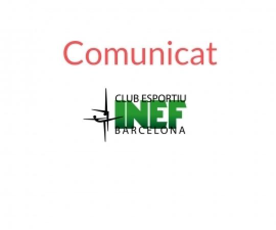 COMUNICAT | L'activitat del Club Esportiu INEF Barcelona s'atura pel COVID-19
