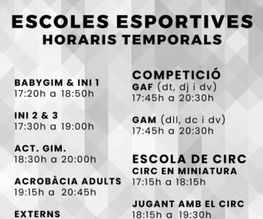 Horaris temporals de les Escoles Esportives de l'INEF Barcelona